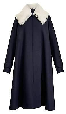 Theory Women's Lamb Fur Collar Virgin Wool-Blend Cloak