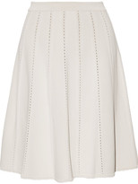 Elie Saab Pointelle-trimmed Jersey Mini Skirt - Off-white