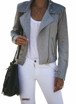 Roskiki ROSKIKI Women's Faux Suede Jackets Zipper Everyday Bomber Jacket Gray XL