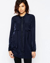 Vila Zip Front Longline Maxi Shirt