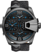 Diesel Men's Chronograph Uber Chief Black Studded Leather and Denim Strap Watch 55x62mm DZ7393