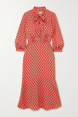Cefinn Daria Pussy-bow Printed Satin Midi Dress - Orange