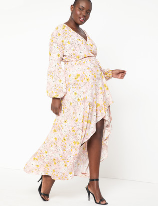 ELOQUII Puff Sleeve High Low Dress