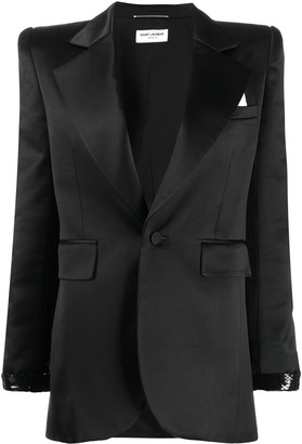 Saint Laurent Beaded Detail Single-Breasted Blazer