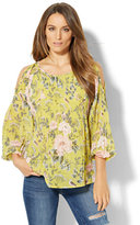 New York & Co. Pleated Cold-Shoulder Blouse - Botanical Print