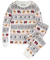 PJ Salvage Girls' Holiday Reindeer Brushed Thermal Pajama Set - Little Kid