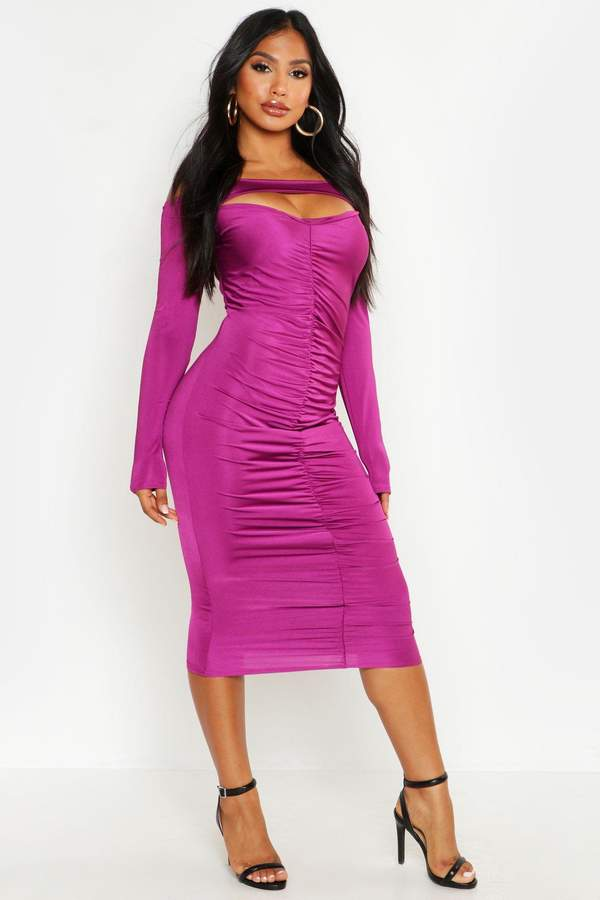 6844157e65470 boohoo Purple Off The Shoulder Dresses - ShopStyle