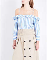 Claudie Pierlot Chabada Off-the-shoulder Striped Cotton-poplin Shirt