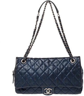 Chanel Metallic Blue Caviar Leather Easy Flap Bag