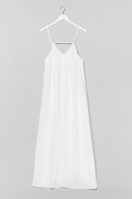 Nasty Gal Womens V-Neck and Call Relaxed Maxi Dress - White