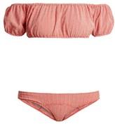Lisa Marie Fernandez Leandra Gingham Seersucker Bikini - Womens - Red White