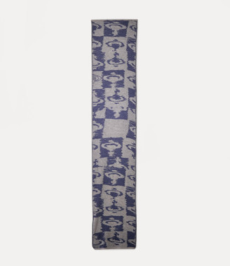 Vivienne Westwood Knitted Ikat Orb Scarf Blue