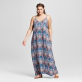 Xhilaration Women's Plus Size Maxi Dress Black Print