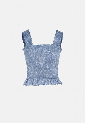 Missguided Tall Blue Sprinkle Shirred Cami Top