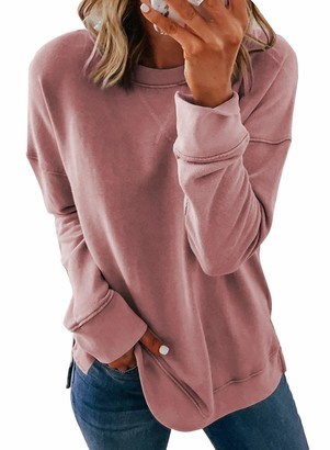 GOSOPIN Autumn Lightweight Casual Tops for Women Long Sleeve Blouses and Shirts for Ladies Loose Fitting Jumpers Round Neck Pullover Sweatshirt Pink Large