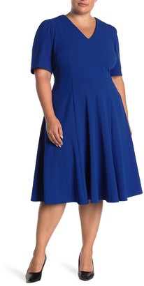 Donna Morgan V-Neck Crepe Fit & Flare Dress (Plus Size)