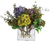 Asstd National Brand Nearly Natural Mixed Hydrangea Arrangement with Rectangle Vase