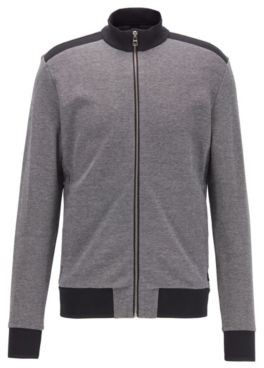 HUGO BOSS Zip Through Knitted Sweatshirt With Lustrous Tipping - Black