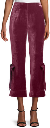 Cinq à Sept Lou Cropped Velvet Pants w/ Ribbons