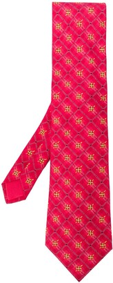 Hermes 2000's Pre-Owned Floral Checked Tie