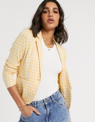 B.young gingham tailored blazer