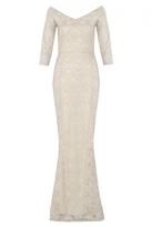 Quiz Gold Lace Bardot Fishtail Maxi Dress