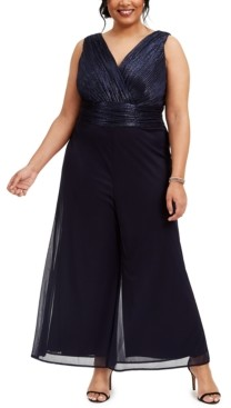 NY Collection Womens Plus Size Glitter Ruffle Wide Leg Jumpsuit