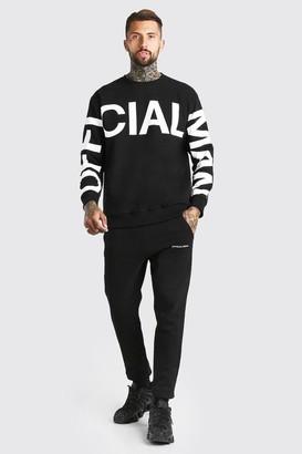 boohoo Mens Black Loose Fit Official MAN Print jumper Tracksuit, Black