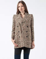 Carven Multicolor Manteau Drap Printed Wollen Coat