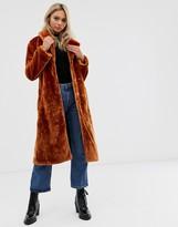 Brave Soul tasmin maxi length faux fur coat