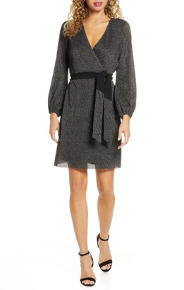 Sam Edelman Sparkle Long Sleeve Faux Wrap Dress