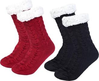 Chalier 2 pair Slipper Fluffy Socks for Women Warm Fuzzy Casual Knitted Socks Bed Slippers Anti Slip Gift for Lady