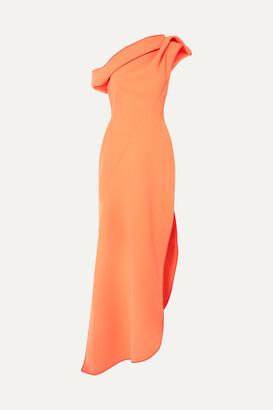 Maticevski Slinger One-shoulder Asymmetric Cady Gown - Coral