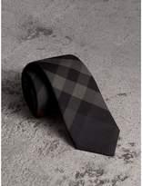 Burberry Modern Cut Check Cotton Cashmere Tie, Grey
