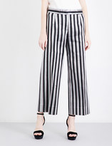 Protagonist Striped wide cropped metallic-jacquard trousers