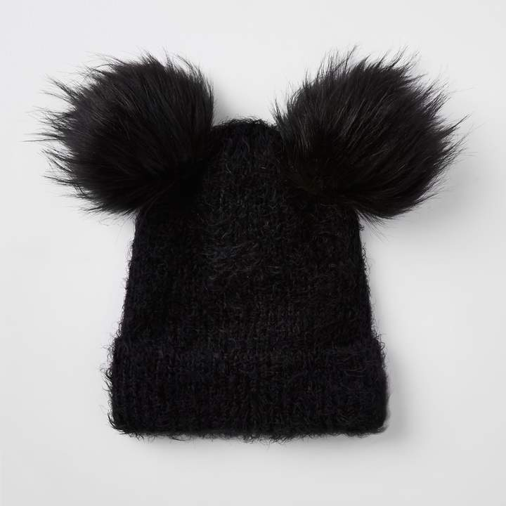 4b339817f Womens Black double pom pom beanie hat