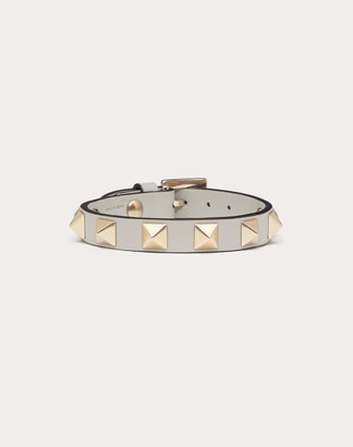 Valentino Rockstud Calfskin Bracelet Women Opal Grey 100% Pelle Di Vitello - Bos Taurus OneSize