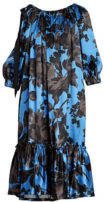 Dries Van Noten Floral Silk Ruffle-Hem Dress
