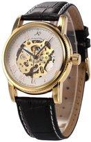 K&S KS Men's Elegant Skeleton Automatic Mechanical Black Leather Wrist Watch KS031