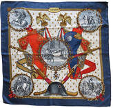 One Kings Lane Vintage Hermes Napoleon Scarf - The Emporium Ltd. - navy/white/orange/multi
