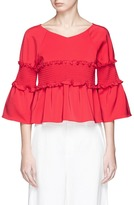 Tibi Smocked cropped faille top