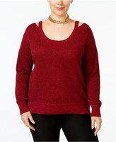 MICHAEL Michael Kors Size Cold-Shoulder Metallic Sweater