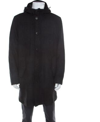 Armani Collezioni Dark Grey Wool and Fur Hooded Collar Detail Coat XXL