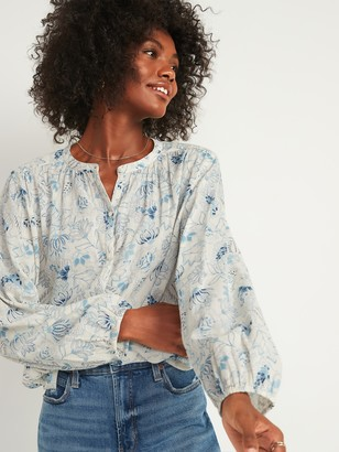 Old Navy Oversized Button-Front Poet Blouse for Women