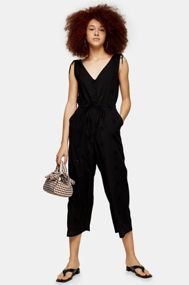 Topshop Black Relaxed Embroidery Jumpsuit
