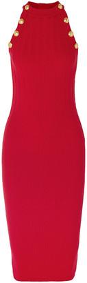 Balmain Ribbed Wool-blend Midi Dress