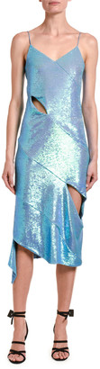 Off-White Sleeveless Sequined Cutout Dress