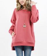 42pops 42POPS Women's Tunics DkMauve - Dark Mauve Side-Slit Hi-Low Fitted Pocket Fleece Tunic - Women