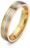 Theia His & Hers 14ct Yellow White and Rose Gold Three-Tone 5mm Grooved Wedding Ring - Size R