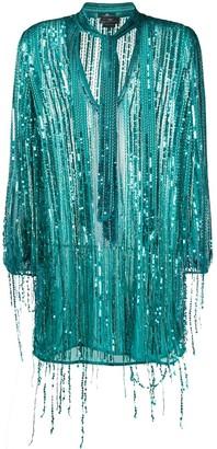 Elisabetta Franchi fringed sequin-embroidered dress